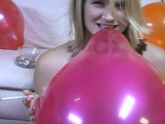 Teen jerks guy off while smoking and popping balloons