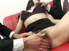 japanese milf almost floppy tits gets clit rubbed