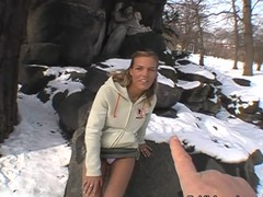 Blond unspecific talked come by showing tits and pussy in a snow covered park