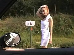 Euro babe getting fucked exceeding a roadside