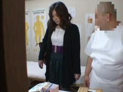 Medical voyeur massage membrane starring a plump Asian wearing funereal panties