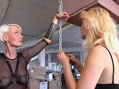 Chubby duff blonde slave gets spanked pretty hard