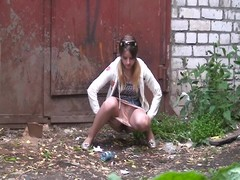 Straightforward untrained girl gets spied pissing in the street