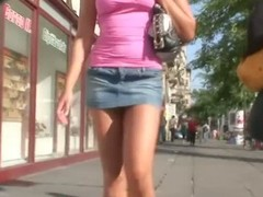 Scenic route voyeur cam catches a scantly clad unladylike shopping
