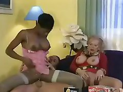 Coco Brown and her next door neighbor granny get hammered in a triumvirate