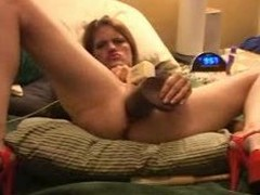 Mediocre monster dildos squirt with an increment of self fisting