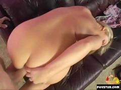 Really hot blonde is fucked in an office