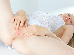 Fine and gorgeous solo babe Vika Nymph is masturbating indoors