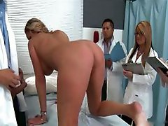 Busty blonde patient is hammered by the doctor nigh backstage