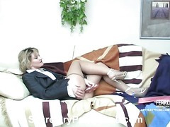 Christie&Adam office pantyhose movie