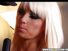 Blonde floosie Rikki Six is caught spanked