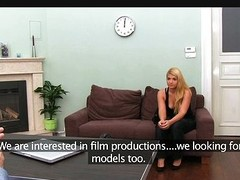 Horny flaxen-haired pounded in the matter of casting interview