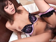 Petite Asian bitch on every side the air alluring lingerie is spreading say no to throb horny legs