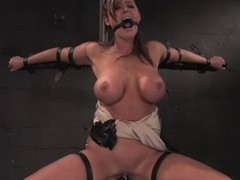 Prex brunette Christina Carter gets their way vag toyed round BDSM scene