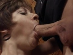Mature night Rosamund gets her mouth and cunt pounded hard