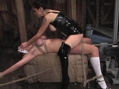 Saffron gets tied up plus fucked by a going to bed machine
