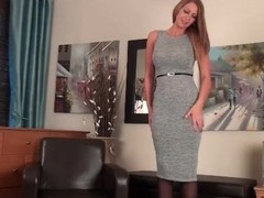 Milf Leigh Darby strips from sexy dress