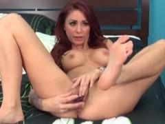 Naked redhead Monique Alexander masturbates