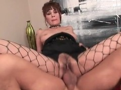 Girl in sexy fishnets fucked in prudish pussy