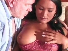 Old guy gets a blowjob detach from Asian cutie