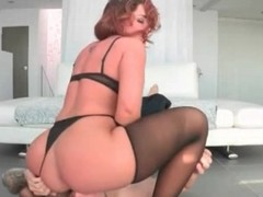 Redhead rides his face with her big ass