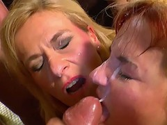 Two tow-haired german bitches hot orgy hardcore action