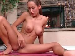 Naked Amia Moretti finger fucks in the sky yoga mat
