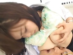 Nasty Asian slut is putting the nipple in the mouth of a fellow