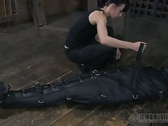 Lovely beauty acquires facial castigation during s&m play