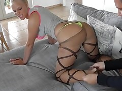 German Blonde in Pantyhose Gets Nailed